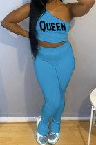 Sky Blue Fashion Women Pure Color Oblique Shoulder Pants Sets DLY8010-3