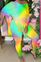 Neon Yellow Gradient Front And Back V Neck Hem Slit Short Sleeve Long Pants Sets XMC6033-1