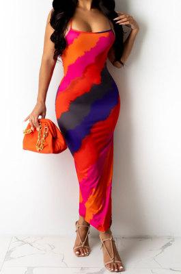 Orange Women Club Sexy Printing Backless Long Dress KA7182-1