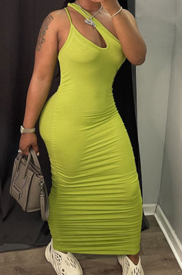 Yellow Women Side Shirred Detail One Shoulder Pure Color Long Dress AA5254-2
