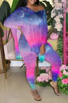 Rose Purple Gradient Front And Back V Neck Hem Slit Short Sleeve Long Pants Sets XMC6033-3