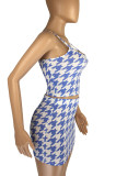Blue Fashion Houndstooth Strapless Matching Skirt Sets LML8229