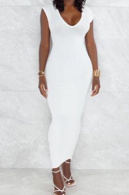 White Pure Color Fashion V Neck Backless Slit Zipper Bodycon Dress WY6825-1