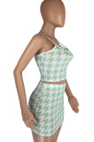 Black Fashion Houndstooth Strapless Matching Skirt Sets LML8229