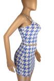 Fluorescent Green Fashion Houndstooth Strapless Matching Skirt Sets LML8229