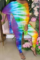 Colorful Gradient Front And Back V Neck Hem Slit Short Sleeve Long Pants Sets XMC6033-2