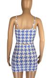 Orange Fashion Houndstooth Strapless Matching Skirt Sets LML8229