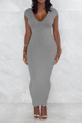 Grey Pure Color Fashion V Neck Backless Slit Zipper Bodycon Dress WY6825-2