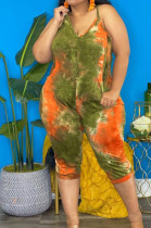Green Tie Dye Loose V Neck Casual Loose Romper Shorts AFY747-2