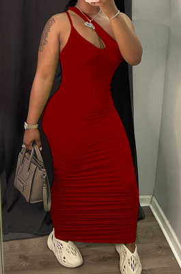 Red Women Side Shirred Detail One Shoulder Pure Color Long Dress AA5254-3