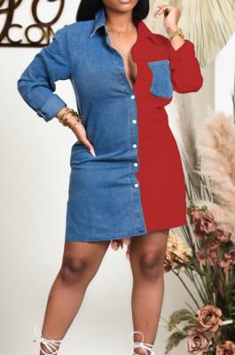 Red Lapel Neck Jean Spliced Long Sleeve Casual Shirt Dress WY6831-1