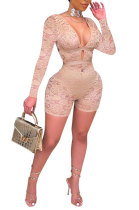 Apricot Club Sexy Hollow Out Lace Long Sleeve Deep V Neck Mid Waist Romper Shorts Q915-2