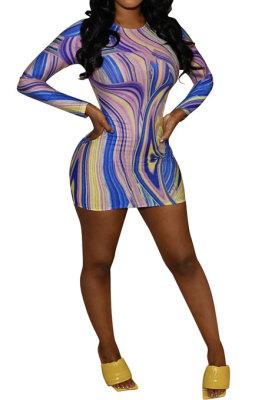 Purple Euramerican Women Autumn Wave Printing Tight Sexy Long Sleeve Mini Dress Q927-1