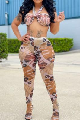 Apricot Perspective Mesh Print Strapless Bandage Regular Leggings Sets Variety Style LMM8267-3