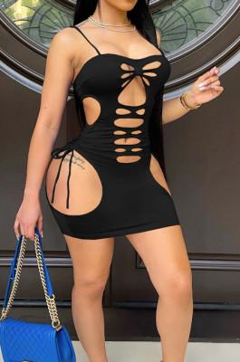 Black Pure Color Strapless Condole Belt Hollow Out Hole Hip Mini Dress SZS8141-2