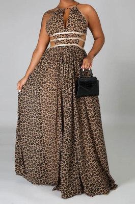 Leopard High Waist Halter Neck Hollow Out Backless Long Dress YF9135