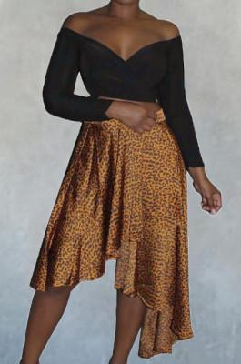 Gold Irregularity Leopard Print Mid Waist Skirt LMM8266