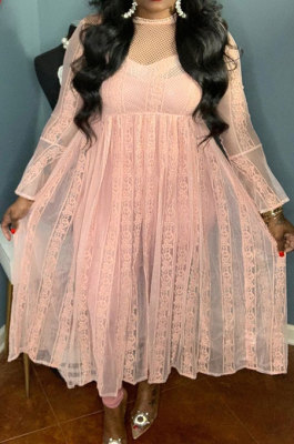 Pink Pure Color Lace Mesh Spaghetti High Waist Long Sleeve Midi Dress YF9127-2