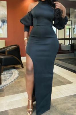 Black Night Club High Collar Off Shoulder Puff Sleeve Side Slit Dress LMM6203-3