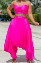 Pink Strapless Bandage Halter Neck Crop Tops Variety Style LMM8262-3
