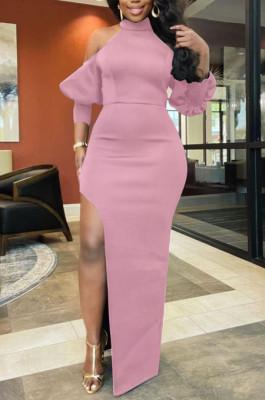 Pink Night Club High Collar Off Shoulder Puff Sleeve Side Slit Dress LMM6203-1