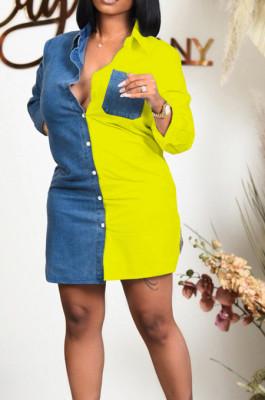 Yellow Lapel Neck Jean Spliced Long Sleeve Casual Shirt Dress WY6831-2