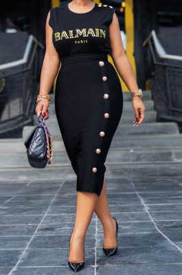 Black Mid Waist Sleeveless Round Neck Mid Dress YF9113