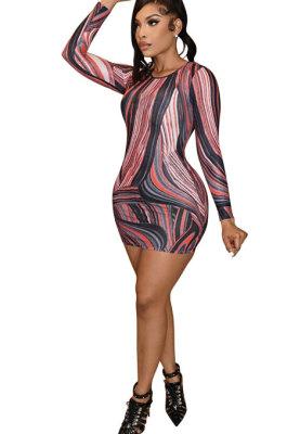Black Euramerican Women Autumn Wave Printing Tight Sexy Long Sleeve Mini Dress Q927-2