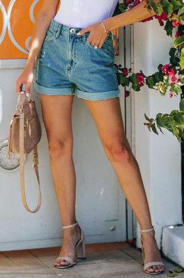 Blue Washing High Waist Jeans Shorts Q5026