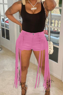 Pink Pure Color Mid Waist PU Leather Pants Tassel Shorts MD421-4