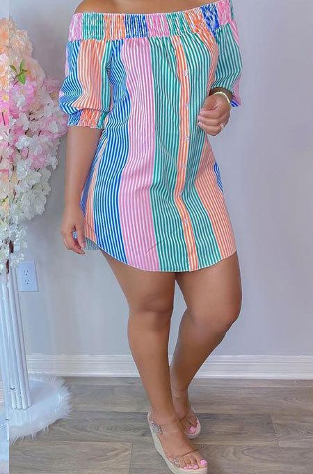 Pink Green Sexy Fashion Off Shoulder Irregularity Colorful Mini Dress K2145-3