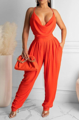Orange Solid Color Low-Cut Condole Belt Backless Sexy Wide Leg Jumpsuits OH8077