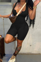 Black Solid Color Summer Notched Neck Sleeveless Tight Tank Jumpsuits OH8076-2