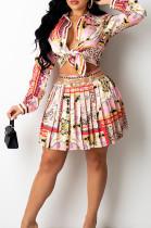 Pink Print Lapel Neck Button Long Sleeve Shirt Mid Waist Pleated Skirts Sets CM2149-1
