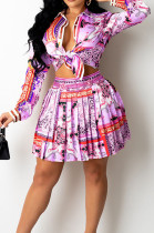 Purple Print Lapel Neck Button Long Sleeve Shirt Mid Waist Pleated Skirts Sets CM2149-3