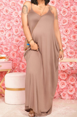 Coffee Pure Color Condole Belt V Neck Loose Long Dress With A Pocket OH8075-3