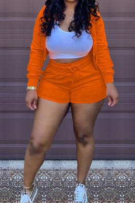 Orange Solid Color Zipper Hooded Long Sleeve Drawstring Sports Shorts Sets SQ90077-1