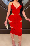Red Halter Neck Strapless V Collar Ruffle Hollow Out Sexy Condole Belt Bodycon Dress SZS8060-2