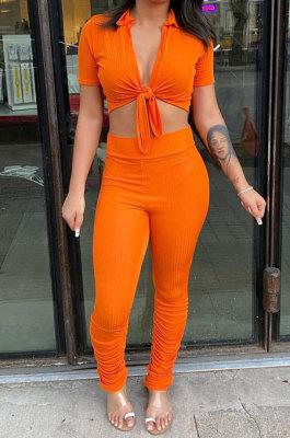 Orange Women Fashion Ribber Deep V Neck Tied Short Sleeve Blouse Pants Sets FFE168-1