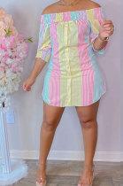 Pink Yellow Sexy Fashion Off Shoulder Irregularity Colorful Mini Dress K2145-4