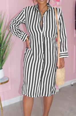 Black Summer Lapel Neck Button Stripe Loose Stripe Shirt Dress KY3088-3