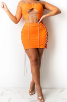 Orange Solid Color Fashion Women Condole Belt Chain Spliced Hollow Out Skirts Sets XZ5230-4