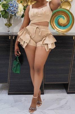 Apricot Women Condole Belt Tank Spliced Solid Color Shorts Sets BYL75000