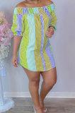 Orange Sexy Fashion Off Shoulder Irregularity Colorful Mini Dress K2145-2