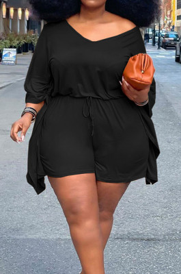 Black Plus Size Pure Color Off Shoulder Horn Sleeve Drawstring Shorts Two Piece ZQ8098-2