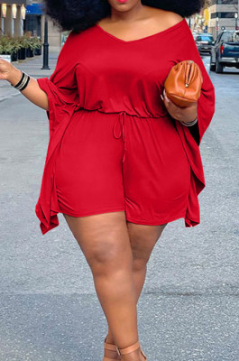 Red Plus Size Pure Color Off Shoulder Horn Sleeve Drawstring Shorts Two Piece ZQ8098-1
