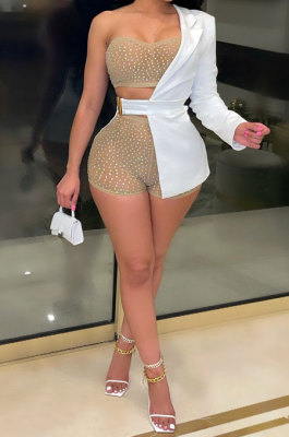 White Sexy Bodycon Strapless Hot Drilling Three Pieces Shorts Sets K2105-2