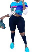 Blue Women Positioning Printing Drawsting Long Sleeve Tank Hole Long Pants Sets MQX23581