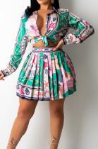 Green Print Lapel Neck Button Long Sleeve Shirt Mid Waist Pleated Skirts Sets CM2149-5