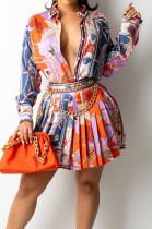 Orange Print Lapel Neck Button Long Sleeve Shirt Mid Waist Pleated Skirts Sets CM2149-4